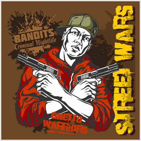 tough guy: Gangster with two pistols 9mm. Vector illustration.