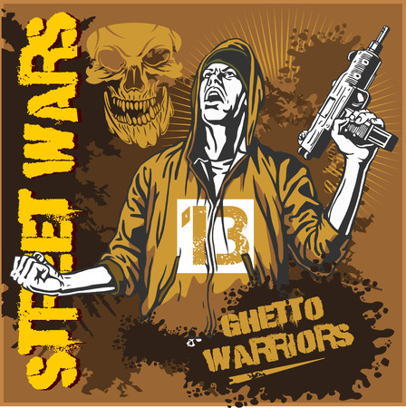 shoot: Bandit with an automatic weapon. Ghetto Warriors. Vector illustration