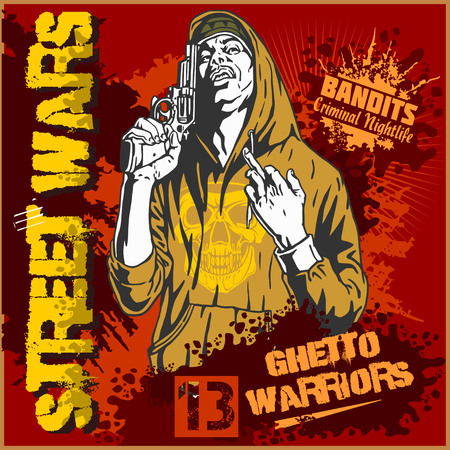 cartoon gangster: Bandit with gun. Man with revolver. Ghetto Warriors. Vector illustration