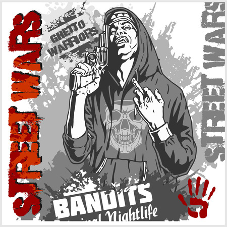 thug: Bandit with gun. Man with revolver. Ghetto Warriors. Vector illustration