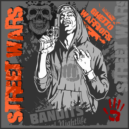 ghetto: Bandit with gun. Man with revolver. Ghetto Warriors. Vector illustration