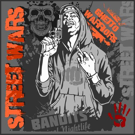 cartoon warrior: Bandit with gun. Man with revolver. Ghetto Warriors. Vector illustration
