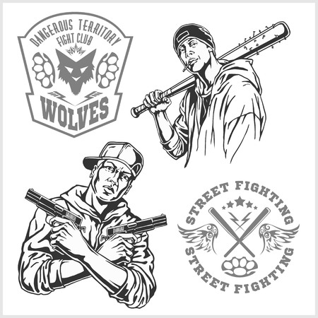 revolt: Bandits and hooligans - criminal nightlife. Vector illustration isolated on white. Illustration