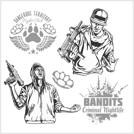 bandits: Bandits and hooligans - criminal nightlife. Vector illustration isolated on white. Illustration
