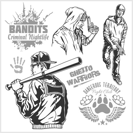 criminal activity: Bandits and hooligans - criminal nightlife. Vector illustration isolated on white. Illustration