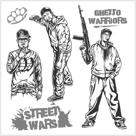 nightlife: Bandits and hooligans - criminal nightlife. Vector illustration isolated on white. Illustration
