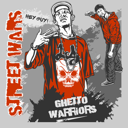 bandits: Bandits with guns and design elements - vector set. Ghetto Warriors. Vector illustration