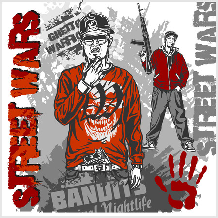 ghetto: Bandits with guns and design elements - vector set. Ghetto Warriors. Vector illustration
