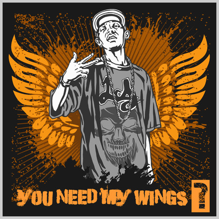 thug: Bandit with gun. Man with wings. Ghetto Warriors. Vector illustration Illustration