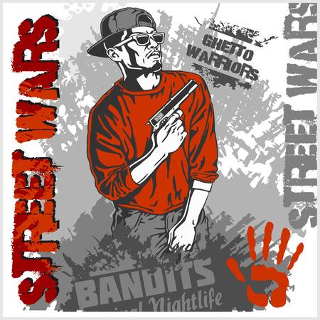 bandit: Bandit with gun. Man with revolver. Ghetto Warriors. Vector illustration