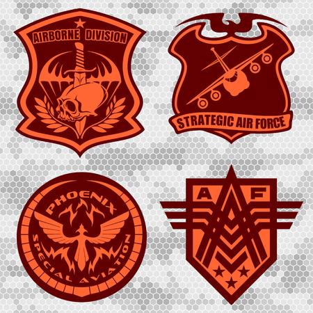 Militaire patch airforce set - forces armées badges et étiquettes logo. Vector set.