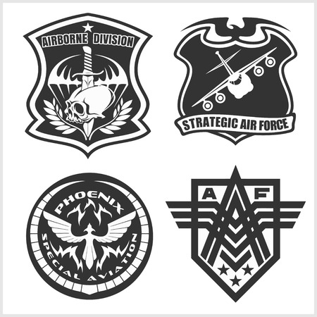 Military airforce patch set - armed forces badges and labels logo. Vector set.