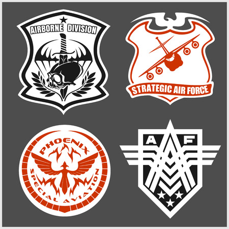 airforce: Military airforce patch set - armed forces badges and labels logo. Vector set.