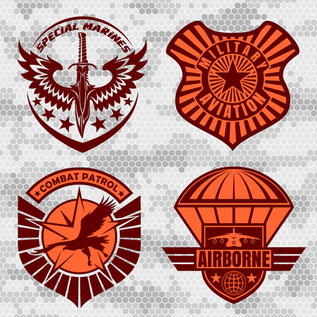 armed: Military airforce patch set - armed forces badges and labels logo. Vector set.