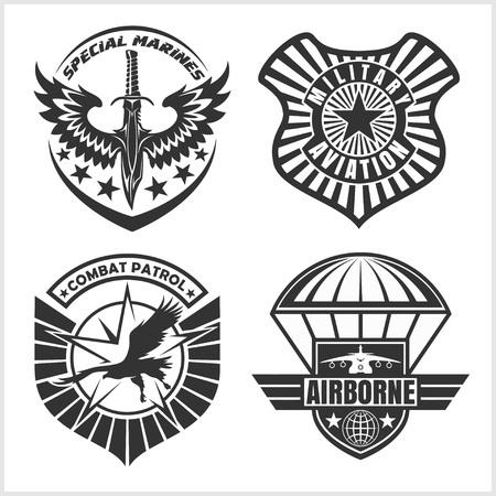 remiendo de la fuerza aérea militar set - insignias de las fuerzas armadas y las etiquetas de logotipo. set vector. Logos