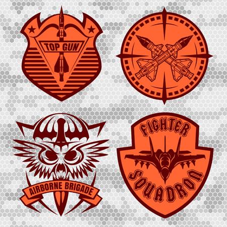Missile Troops - military badges and patches. Vector set. Vektoros illusztráció