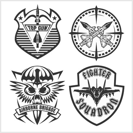 missile: Missile Troops - military badges and patches. Vector set.
