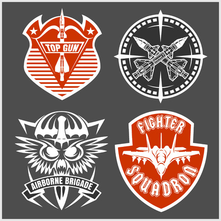patches: Missile Troops - military badges and patches. Vector set.