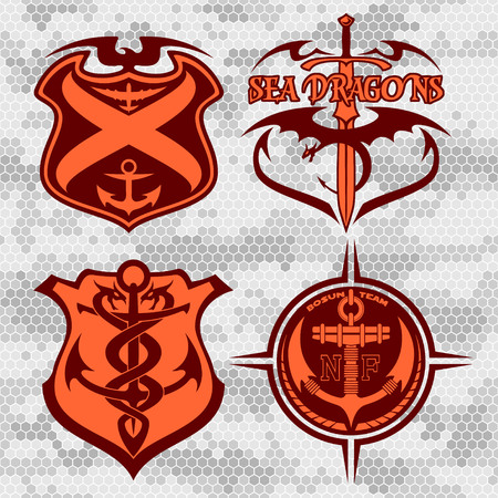 patches: Navy military patches and badges - vector set