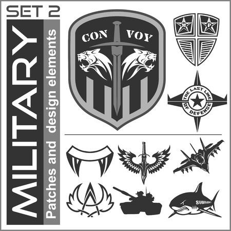 Set of military patches logos, badges and design elements. Graphic template. Vector illustration 免版税图像 - 55097416