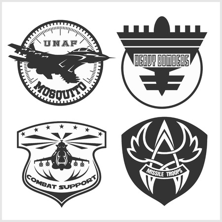 Air Force emblema militare impostato modello di disegno vettoriale. set di vettore. Vettoriali
