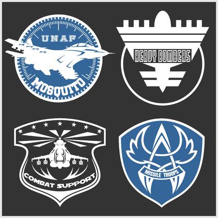 bomber plane: Air Force military emblem set vector design template. Vector set.