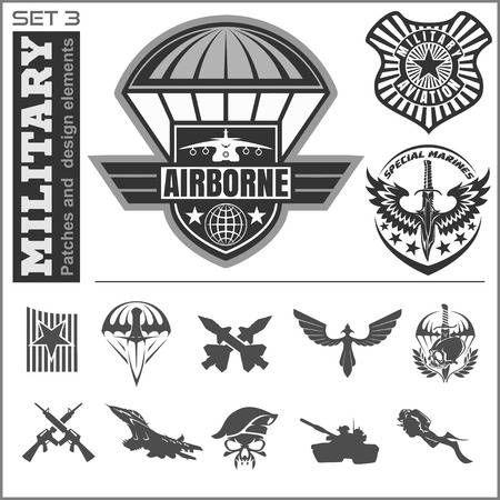 airborne: Air Force military emblem set vector design template. Vector set.