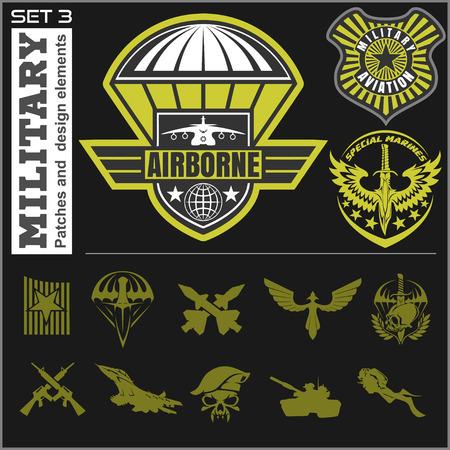 force: Air Force military emblem set vector design template. Vector set.