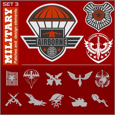 airscrew: Air Force military emblem set vector design template. Vector set.