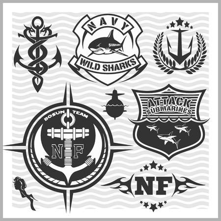 elite: Set of military and naval forces badges and design elements. Vector illustration.