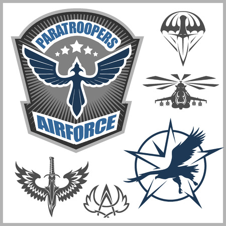 airplay: Paratroopers - Special unit military emblem set vector design template