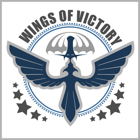 skydiver: Paratroopers - Special unit military emblem vector design template