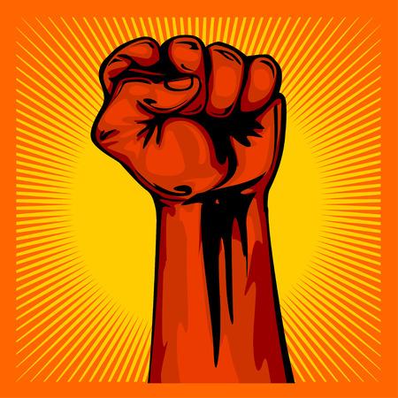 Hand Up Proletarian Revolution - Fist of revolution. Human hand up on sunny background.