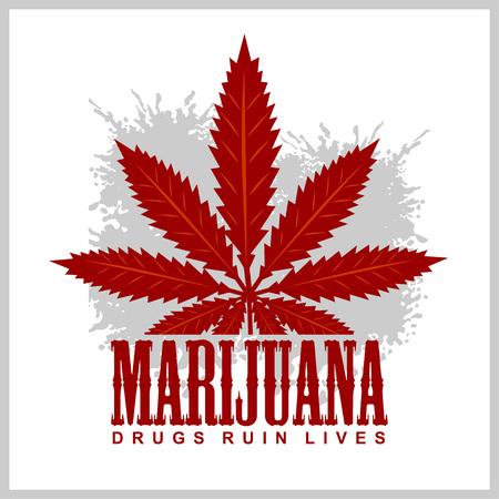 cannabis sativa: Cannabis - marijuana leaf on grunge background for prints and tshirts