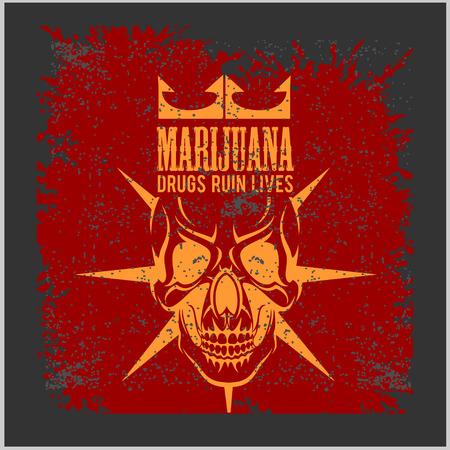 rastafari: Marijuana Skull on grunge dark background for prints and tshirts