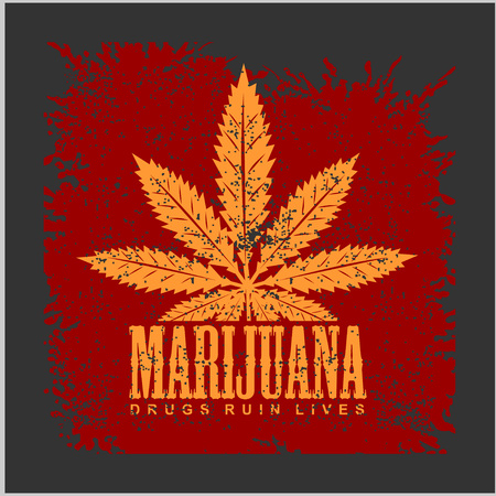 recreational drug: Cannabis - marijuana leaf on grunge background for prints and tshirts