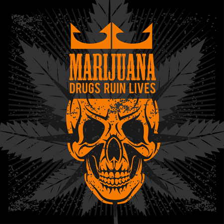 Marijuana Skull on grunge dark background for prints and tshirts