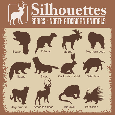 north american: Silhouettes - Isolated North American animals. Vector set. Illustration