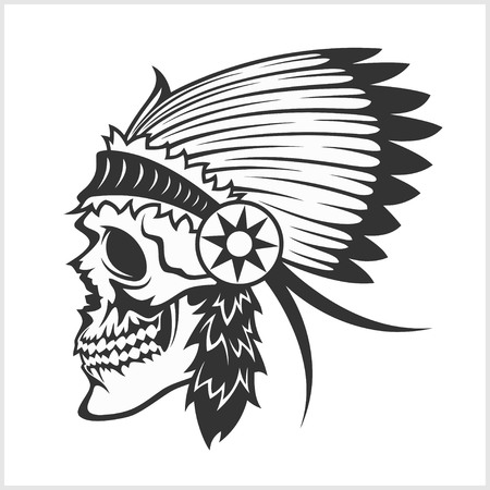 indian chief headdress: native american indian chief headdress - indian chief mascot, indian tribal headdress, indian headdress - isolated on white