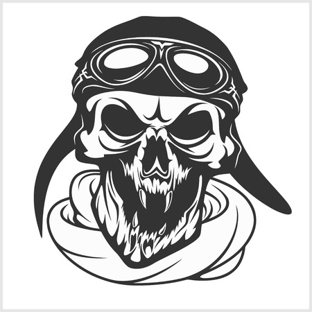 hell: hell pilot - skull with helmet and glasses. Isolated on white Illustration