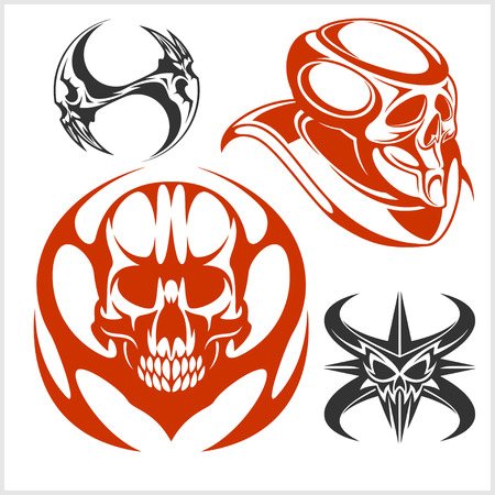 Set of tribal skulls for tattoo. Isolated on white. Vector Illustration