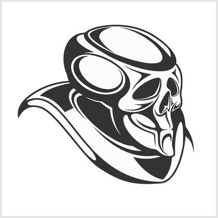 safely: Cyborg - Robot skull isolated black on white Illustration
