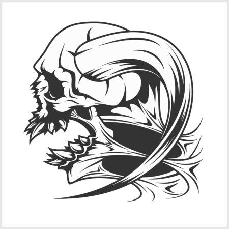 cranial skeleton: Zombie Skull Head - isolated on white background