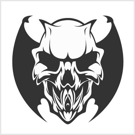 crouching: Fierce Gargoyle-Fantasy Winged Beast - isolated on white