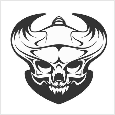 doom: Horned skull for tattoo - isolated on white