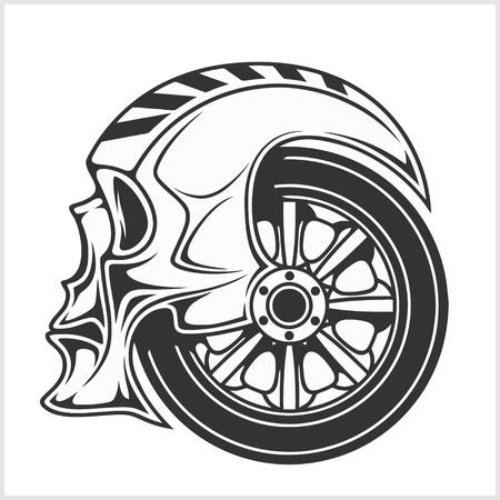 calavera caricatura: Motorista del cráneo - símbolo de carreras - aislados en blanco Vectores