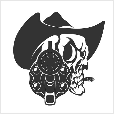 cow teeth: Skull In Cowboy Hat And Gun - isolated on white