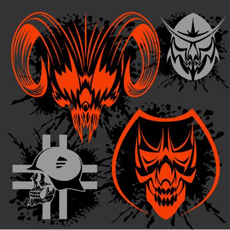 Set of tribal skulls for tattoo. Isolated on dark. Vector Illustration
