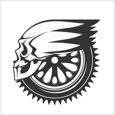 Biker skull - racing symbol - isolated on white Vector Illustration