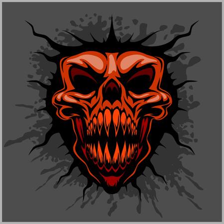 aggressive skull for motocross helmet on dark background Vector Illustration